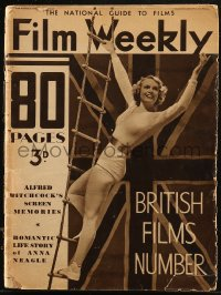8m0494 FILM WEEKLY English magazine May 2, 1936 Anna Neagle by MacMichael, Hitchcock Screen Memories