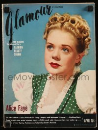 8m0500 GLAMOUR magazine April 1940 cover portrait of Alice Faye in Fox's Little Old New York!
