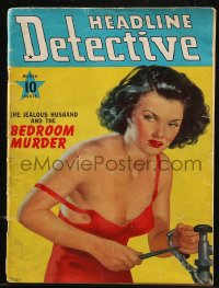 8m0504 HEADLINE DETECTIVE magazine March 1940 The Jealous Husband and the Bedroom Murder, sexy art!