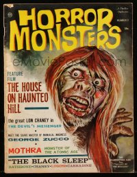 8m0508 HORROR MONSTERS #9 magazine Fall 1964 House on Haunted Hill, Black Sleep, great cover art!