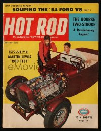 8m0510 HOT ROD magazine July 1954 exclusive Dean Martin & Jerry Lewis rod test on the cover!