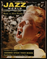 8m0522 JAZZ WORLD vol 1 no 1 magazine March 1957 Music vs Elvis Presley, Chris Connor on cover!
