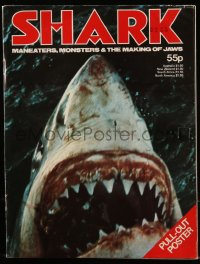 8m0521 JAWS English magazine 1975 special issue of Shark with 12x18 poster in the center spread!