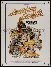 8p0001 AMERICAN GRAFFITI 30x40 1973 George Lucas teen classic, wacky Mort Drucker artwork of cast!