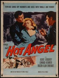 8p0005 HOT ANGEL 30x40 1958 teenage hot rod rebel gangs rip highways & skies w/thrills & terror!