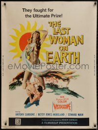 8p0006 LAST WOMAN ON EARTH 30x40 1960 ultra sexy artwork of near-naked girl & men fighting for her!