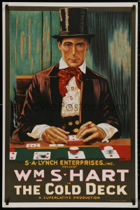8p0043 COLD DECK S2 poster 2000 great gambling art of western cowboy William S. Hart playing faro!