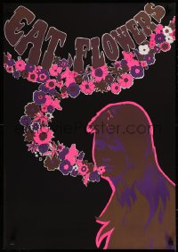 8p0181 EAT FLOWERS 20x29 Dutch commercial poster 1960s psychedelic Slabbers art of woman & flowers!