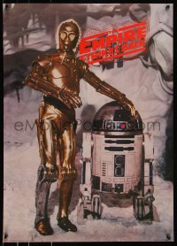 8p0184 EMPIRE STRIKES BACK 20x28 commercial poster 1980 droids C-3PO & R2-D2 on the ice planet Hoth!