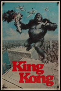 8p0190 KING KONG 23x35 commercial poster 1976 art of the BIG Ape tearing up wall by John Berkey!
