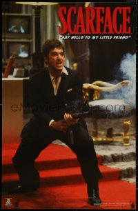 8p0197 SCARFACE 23x35 commercial poster 1990s Pacino as Tony Montana, red carpet!