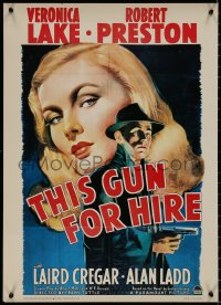 8p0202 THIS GUN FOR HIRE 20x28 commercial poster 1980s art of Alan Ladd & sexy Veronica Lake!