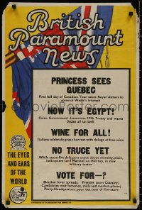 8p0242 BRITISH PARAMOUNT NEWS #2152 English double crown 1950s princess sees Quebec and more!