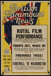 8p0241 BRITISH PARAMOUNT NEWS English double crown 1950s royal performance, troops out wives in!