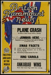 8p0240 BRITISH PARAMOUNT NEWS #2171 English double crown 1951 56 killed in plane crash and more!