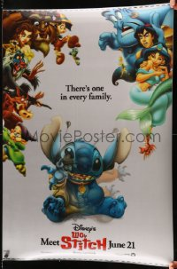 8p0221 LILO & STITCH lenticular 1sh 2002 Disney Hawaiian fantasy cartoon, Stitch wearing a collar!