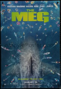 8p1046 MEG teaser DS 1sh 2018 image of giant megalodon and terrified swimmers, pleased to eat you!