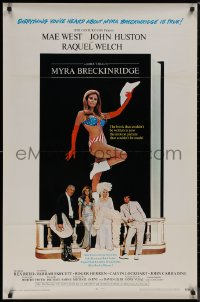 8p1073 MYRA BRECKINRIDGE int'l 1sh 1970 John Huston, Mae West & sexy Raquel Welch in patriotic outfit!