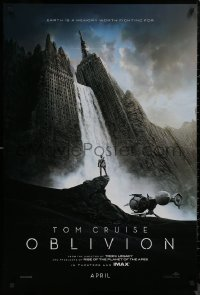 8p1081 OBLIVION teaser DS 1sh 2013 Morgan Freeman, image of Tom Cruise & waterfall in city!