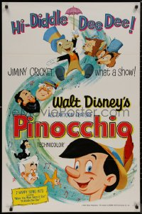 8p1102 PINOCCHIO 1sh R1962 Disney cartoon about a wooden boy who wants to be real!