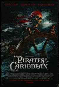 8p1103 PIRATES OF THE CARIBBEAN advance DS 1sh 2003 Curse of the Black Pearl, skeleton at the wheel!
