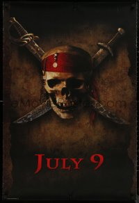 8p1104 PIRATES OF THE CARIBBEAN teaser 1sh 2003 Geoffrey Rush, Knightley, Curse of the Black Pearl!