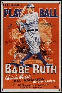 8p0045 PLAY BALL WITH BABE RUTH S2 poster 2001 wonderful artwork of the amazing baseball legend!