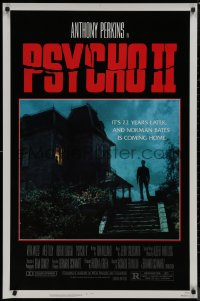 8p1119 PSYCHO II 1sh 1983 Anthony Perkins as Norman Bates, cool creepy image of classic house!