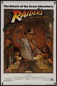 8p1123 RAIDERS OF THE LOST ARK 1sh R1982 great Richard Amsel art of adventurer Harrison Ford!