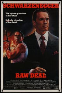 8p1128 RAW DEAL 1sh 1986 artwork of Arnold Schwarzenegger with gun & in suit by John Alvin!