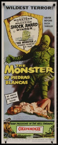 8p0224 MONSTER OF PIEDRAS BLANCAS 14x36 REPRO poster 1980s fiend that walks Lovers' Beach & girl!