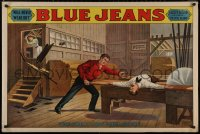 8p0115 BLUE JEANS 28x42 stage poster 1890 stone litho of man about to be bisected by sawblade!