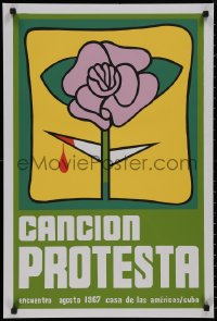 8p0156 CANCION PROTESTA 20x30 Cuban music poster 1990s art of a bleeding purple flower from the 1967 poster!