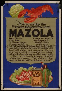 8p0144 MAZOLA 29x42 advertising poster 1930s a great recipe to make the perfect mayonnaise!
