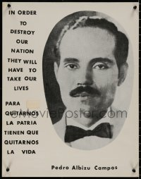 8p0228 PEDRO ALBIZU CAMPOS 18x23 political campaign 1960s close-up portrait of the politician!