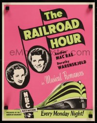8p0229 RAILROAD HOUR radio poster 1949 musical romances Gordon MacRae & Dorothy Warenskjold!