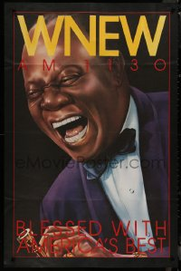 8p0239 WNEW AM 1130 LOUIS ARMSTRONG radio poster 1980s great art, blessed with America's best!