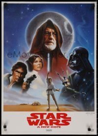 8p0134 STAR WARS 19x27 video poster R1995 A New Hope, George Lucas classic epic, art by John Alvin!