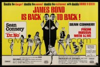 8p0247 DR. NO/FROM RUSSIA WITH LOVE English trade ad 1965 Sean Connery is James Bond, double danger!