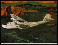 8p0029 PAN AMERICAN AIRWAYS SYSTEM 19x24 travel poster 1984 China Clipper over San Francisco bay!