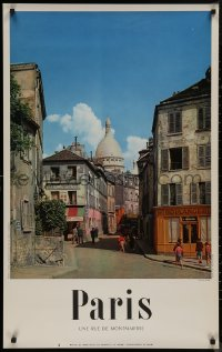 8p0042 PARIS 25x39 French travel poster 1950s great image taken from the Rue de Montmarte!