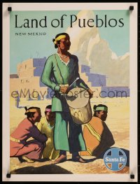 8p0030 SANTA FE LAND OF PUEBLOS NEW MEXICO 18x24 travel poster 1950s art of Native American Indians!