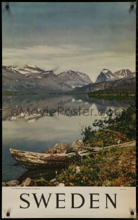 8p0036 SWEDEN 25x39 Swedish travel poster 1950s image of the Kebnekaise mountains in Lapland!