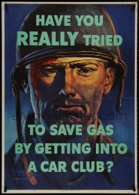 8p0020 HAVE YOU REALLY TRIED TO SAVE GAS 29x40 WWII war poster 1944 art by Harold Van Schmidt!
