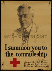 8p0014 I SUMMON YOU TO THE COMRADESHIP 20x27 WWI war poster 1918 art of President Woodrow Wilson!
