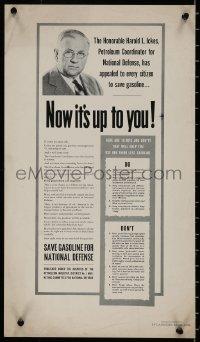 8p0021 NOW IT'S UP TO YOU 12x21 WWII war poster 1940s Honorable Harold L. Ickes appeals to you!