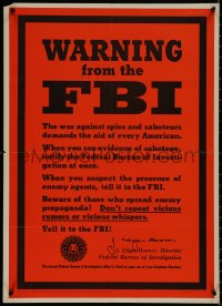 8p0025 WARNING FROM THE FBI 20x28 WWII war poster 1943 Hoover asks you to report suspicious activity!