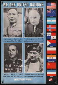 8p0026 WE ARE UNITED NATIONS 27x39 WWII war poster 1944 photographs taken from Life magazine!