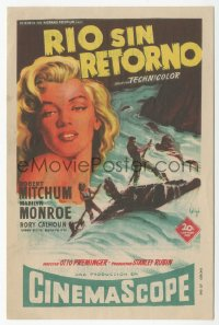 8r1094 RIVER OF NO RETURN Spanish herald 1955 different art of sexy Marilyn Monroe by Soligo!