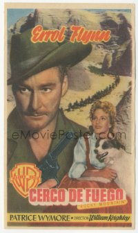 8r1096 ROCKY MOUNTAIN Spanish herald 1951 different image of Errol Flynn, Patrice Wymore & dog!